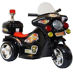 Mini Moto Eletrica Infantil Triciclo 6v Bateria Luzes Som Preto