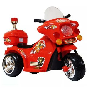 Mini Moto Eletrica Infantil Triciclo 6v Bateria Luzes Som Vermelho