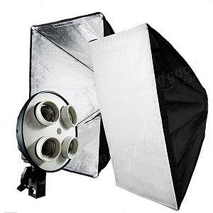 Softbox 50x70 Bocal Quadruplo Youtuber 110v/220v Iluminação