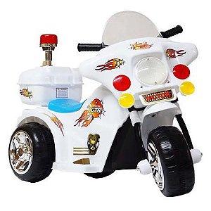 Mini Moto Eletrica 6v Infantil Policia Som Luz Varias Cores