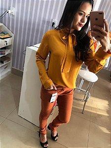 102653 Camisa amarração gola mostarda Tm P