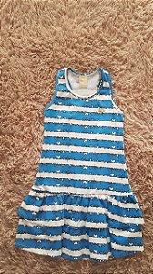 445 Tm 6 vestido infantil azul