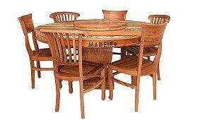 Jogo de Mesa Redonda com 6 Cadeiras