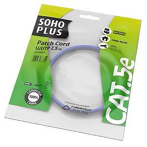 PATCH CORD U/UTP SOHOPLUS CAT.5E - CMX - T568A/B - 2.5M - AZUL CLARO - (UN)