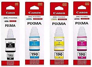 TINTA CANON GI-190 TANQUE DE TINTA PIXMA MAXX G1100 G2100 G3100 G3102 Black Cyan Magenta Yellow