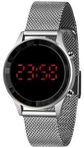 Relógio Lince Feminino Digital Prata Redondo