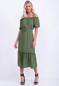 Vestido com Cinto Verde Caqui Bana Bana
