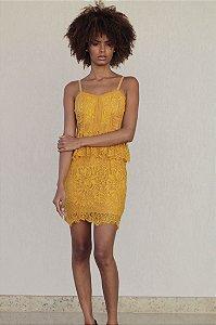 Vestido Curto de Renda Amarelo Mostarda
