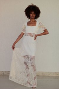 Vestido Longo de Renda Off White