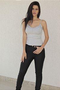 Calça Jeans Skinny Resinada Preta Bana Bana