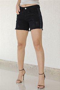 Short Jeans Preto com Detalhe Lateral