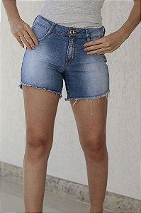 Short Jeans Med Botão Laranja