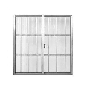 Janela de aluminio com grade 2 folhas alt.1,00x1,00mt lar. vidro canelado- Quality