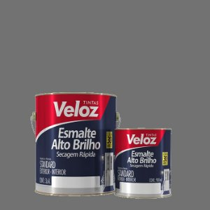 Tinta Esmalte Cinza Médio Alto Brilho 1/4 com 900ml - Veloz