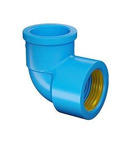 "Joelho 90° azul com bucha latão 25mm x 3/4"" - fortlev"