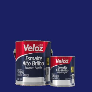 Tinta Esmalte Azul França Alto Brilho 1/4 com 900ml - Veloz