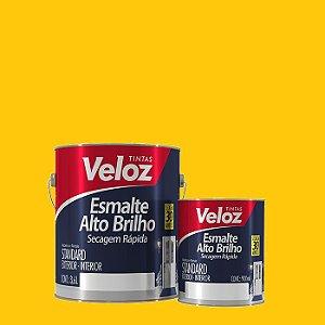 Tinta Esmalte Amarelo Alto Brilho 1/4 com 900ml - Veloz