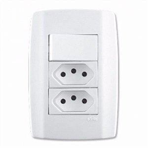 Interruptor + 2 tomada 10A slim - ilumi