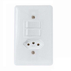 Interruptor com 2 teclas + 1 tomada 10A stylus - ilumi