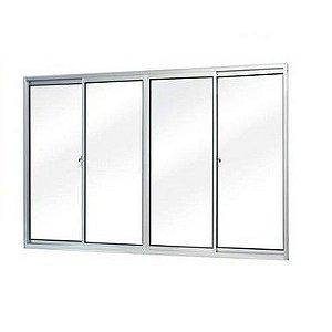 Janela de aluminio 1,00m alt. x 1,50m lar. 4 folhas com vidro liso - Quality