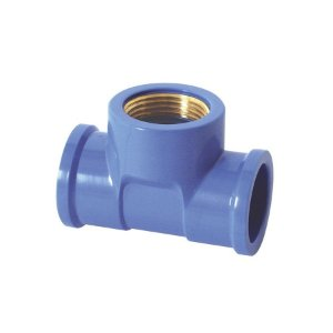 "Te azul com bucha latao 25mm x 1/2"" - krona"