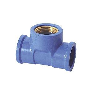 "Te azul com bucha latao 25mm x 3/4"" - krona"