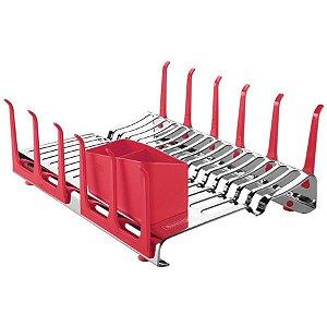 Escorredor de louça aço inox com secador de copos e porta talheres