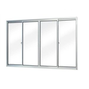 Janela de aluminio 4 folhas alt.1,00x1,20mt. lar. vidro liso - Indimel