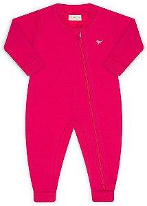 Pijama tamanho P ao 8 em moletom flanelado 3 cabos com ziper e punhos- COR PINK