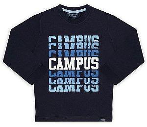 Camiseta tamanho 4 a 16 manga longa em malha penteada 100% algodao - Silk CAMPUS - Cor Marinho