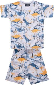 Pijama tamanho 1 a 16 em meia malha 100% algodao- ESTAMPA DINO