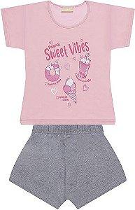 Pijama feminino tamanho 1 ao 16 em meia malha 100% algodao- COR ROSA COM CINZA MESCLA