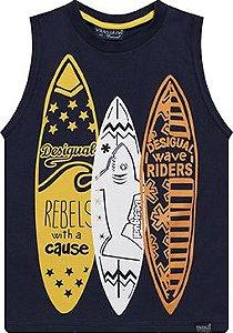 Camiseta regata tamanho 4 a 16 em malha penteada de primeira qualidade com Silk Pranchas - COR MARINHO