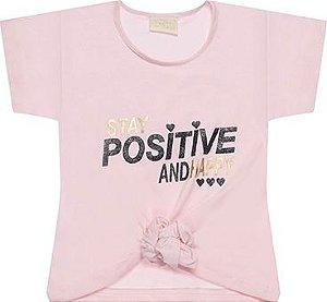 Blusa tamanho 4 ao 16 produzida em cotton de primeira qualidade, com Scrunchie (Fru Fru) Silk POSITIVE - COR ROSA CLARO