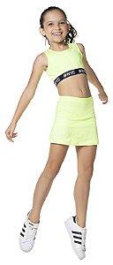 Saia tamanho 4 a 16 Fitness com Short embutido e proteção U.V. - COR AMARELO NEON