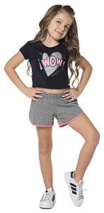 Blusa Cropped tamanho 4 ao 16 produzida em cotton de primeira qualidade Silk ! WOW ! - COR PRETO