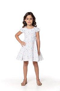 Vestido produzido em algodão de primeira qualidade. Fechamento traseiro com Zipper- COR BRANCA ESTAMPA FLORES DO CAMPO