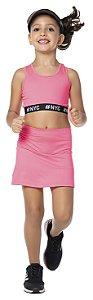 Saia tamanho 4 a 16 Fitness com Short Embutido - COR PINK NEON