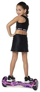 Saia tamanho 4 a 16 Fitness com Short Embutido e proteção U.V.- COR PRETO JACQUARD