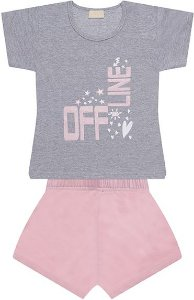 Pijama em meia malha 100% algodão penteado- COR MESCLA COM ROSA
