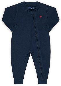 Pijama tamanho P ao 8 em moletom flanelado com ziper e sem pezinho- COR AZUL MARINHO