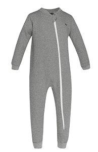 Pijama tamanho P ao 8 em moletom flanelado com ziper e sem pezinho. COR CINZA MESCLA-07