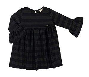 Vestido tamanho 4 a 16 em tecido 100% viscose com manga 3/4- COR PRETA