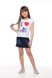 Conjunto tamanho 4 a 16 com saia jeans e blusinha em cotton- COR BRANCA