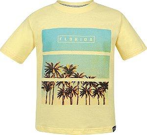 Camiseta tamanho 4 a 16 em malha penteada de primeira qualidade com Silk Praia - COR AMARELA