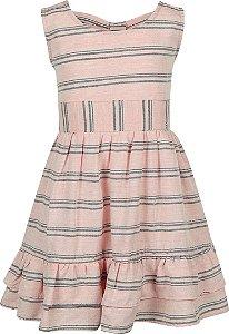Vestido tamanho 4 ao 12 em tecido viscose com laço e elástico traseiro- COR ROSE