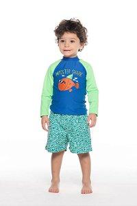 Camiseta SURF com PROTECAO U.V. tamanho 1 ao 3- COR AZUL / VERDE