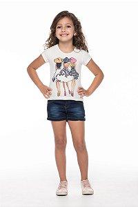 Conjunto tamanho 4 ao 16 em Cotton de primeira qualidade com short em tecido jeans- COR OFF WHITE COM MARINHO