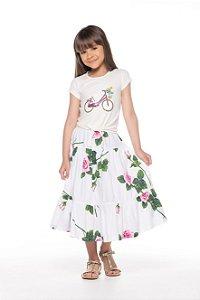Blusa tamanho 4 a 16 produzida em cotton de primeira qualidade, com bordado em paete- COR OFF-WHITE
