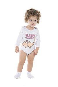 Body manga longa para bebe em malha macia de algodao com elastano e  silk frontal- COR BRANCA (PACK c/ 3 pecas iguais)